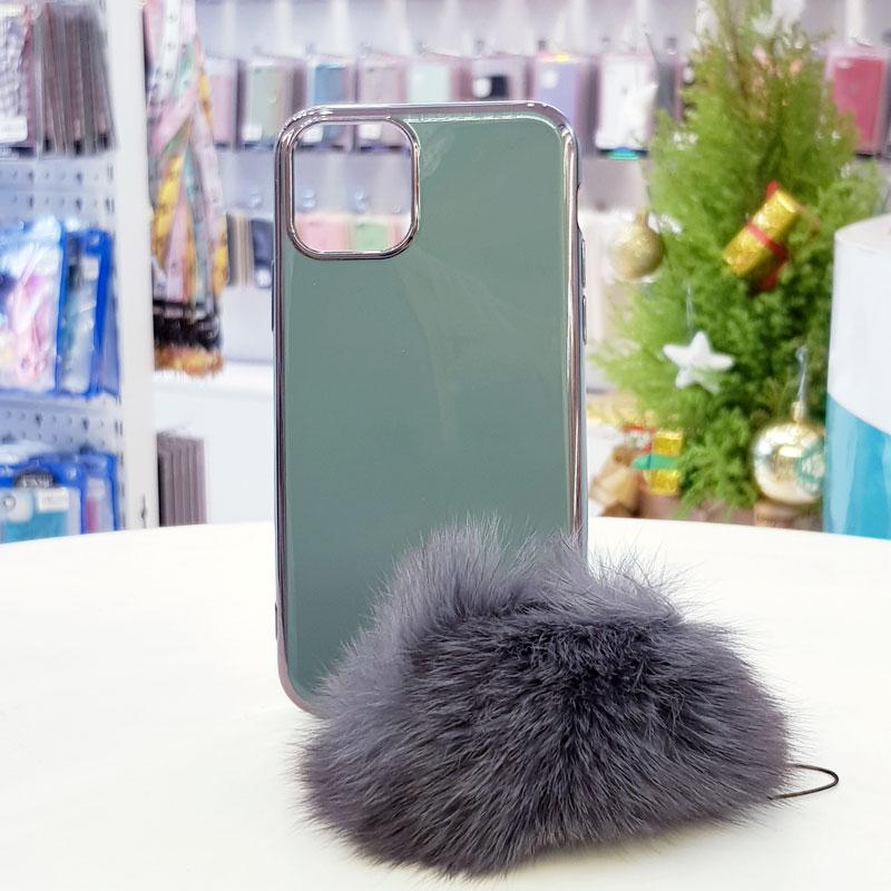 Ốp lưng iPhone X cao cấp kèm quả bông xanh dương