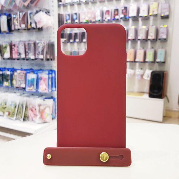 Ốp lưng điện thoại chống bẩn kèm quai nâu đỏ1