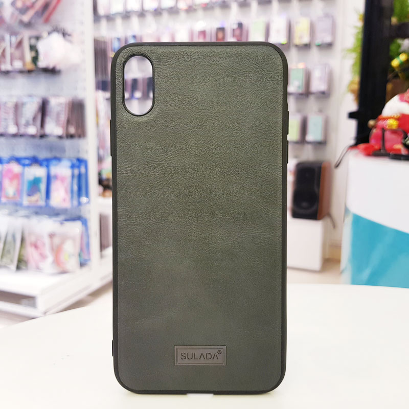 Ốp lưng iPhone Xs Max bằng da hãng Sulada xám