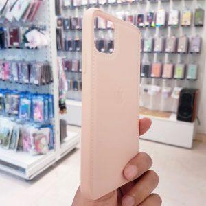 Ốp lưng điện thoại da logo táo hồng2