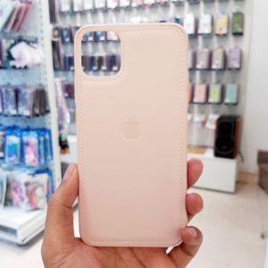 Ốp lưng điện thoại da logo táo hồng1