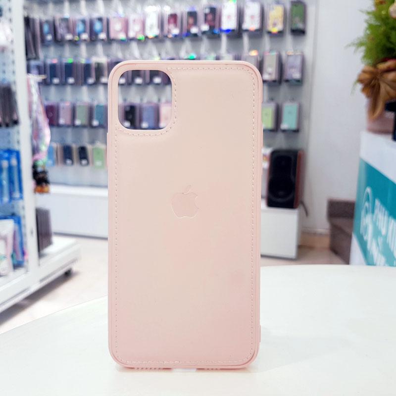 Ốp lưng điện thoại da logo táo hồng
