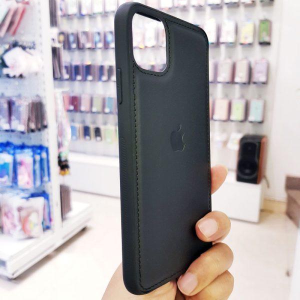 Ốp lưng điện thoại da logo táo đen1
