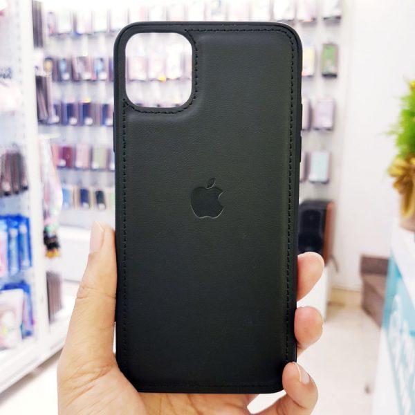 Ốp lưng điện thoại da logo táo đen3