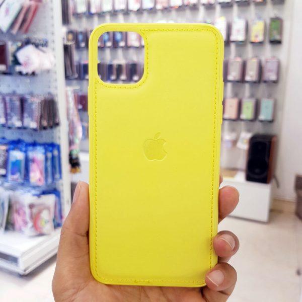 Ốp lưng điện thoại da logo táo vàng3