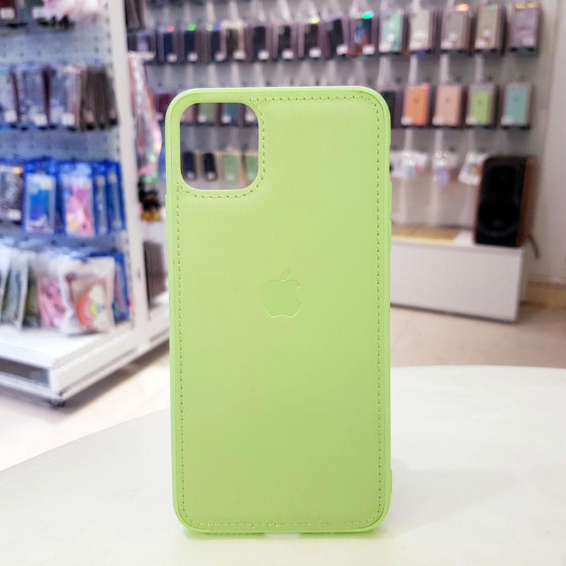 Ốp lưng iPhone X bằng da giá rẻ biểu tượng quả táo xanh cốm1