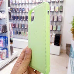 Ốp lưng điện thoại da logo táo xanh cốm2