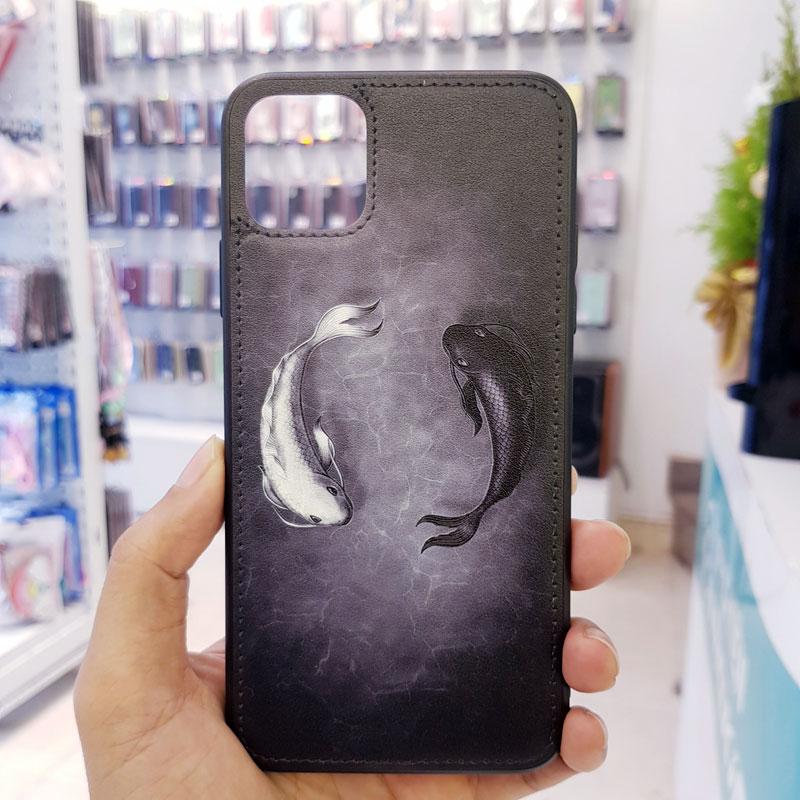 Ốp lưng điện thoại da sơn hình cá đen trắng3