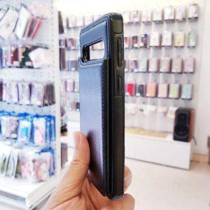 Ốp lưng điện thoại samsung bằng da ví sau lưng đen
