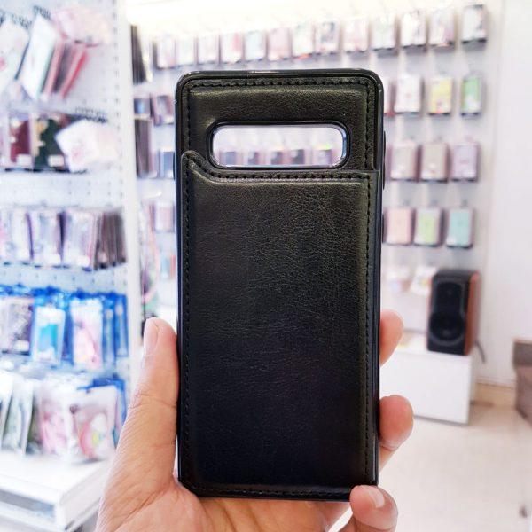 Ốp lưng điện thoại samsung bằng da ví sau lưng đen4