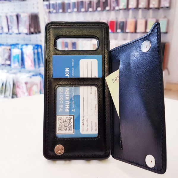 Ốp lưng điện thoại samsung bằng da ví sau lưng đen3