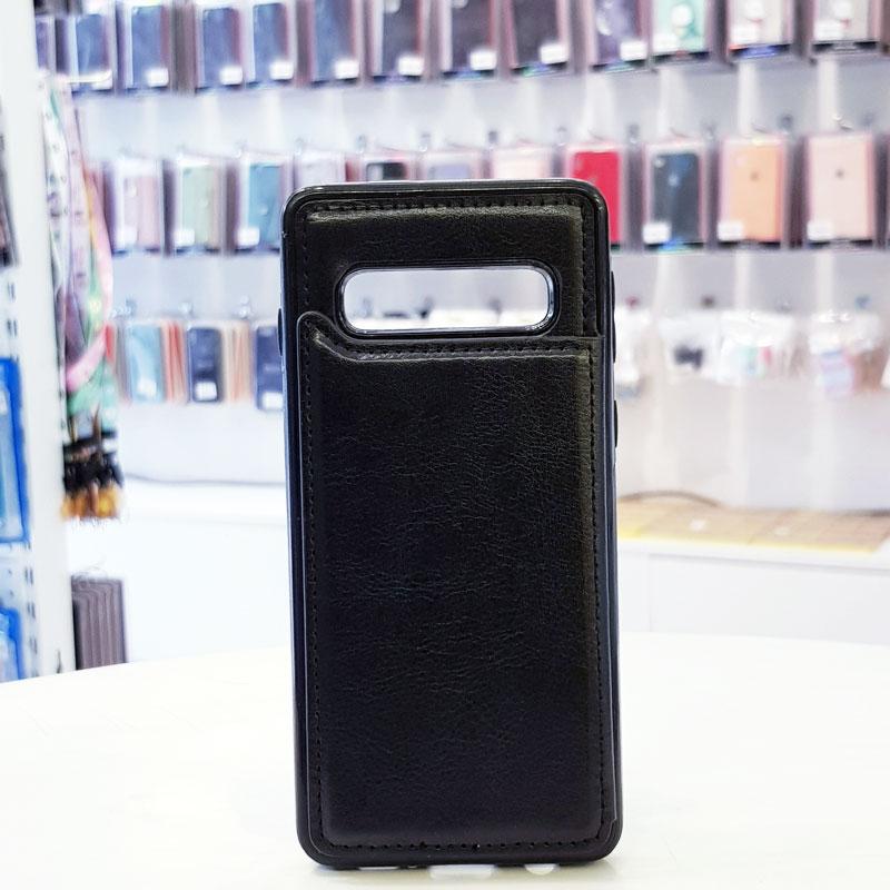 Ốp lưng điện thoại samsung bằng da ví sau lưng đen2