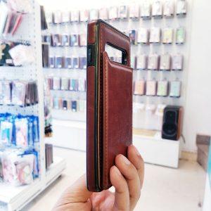 Ốp lưng điện thoại samsung bằng da ví sau lưng nâu4