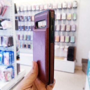 Ốp lưng điện thoại samsung bằng da ví sau lưng nâu3