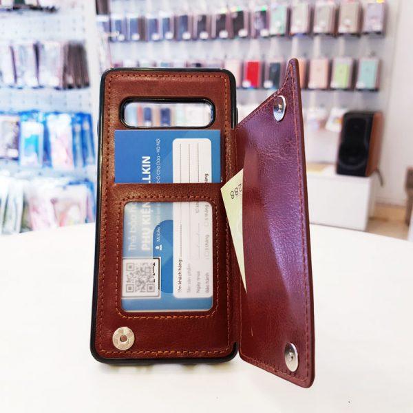 Ốp lưng điện thoại samsung bằng da ví sau lưng nâu1