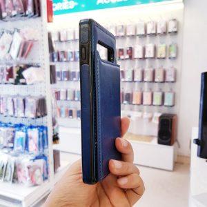 Ốp lưng điện thoại samsung bằng da ví sau lưng xanh than4