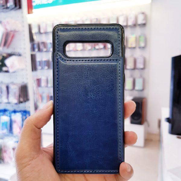 Ốp lưng điện thoại samsung bằng da ví sau lưng xanh than2