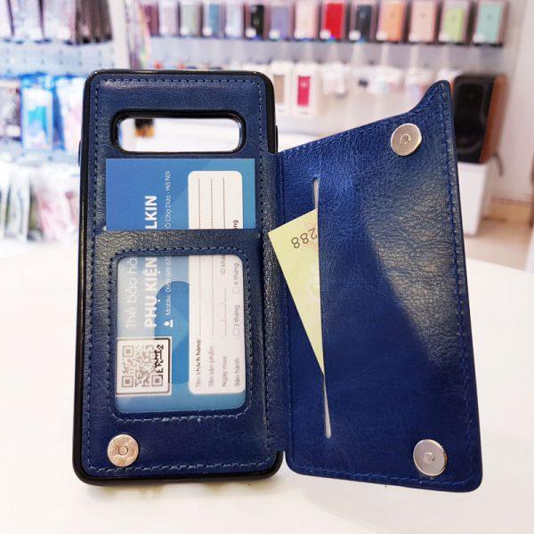 Ốp lưng điện thoại samsung bằng da ví sau lưng xanh than1