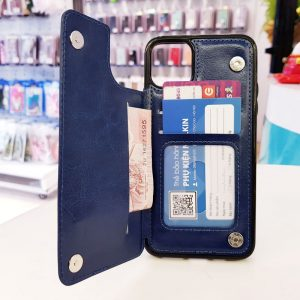 Ốp lưng điện thoại da ví sau lưng xanh than2