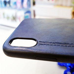 Ốp lưng điện thoại da viền chỉ kẻ xanh than
