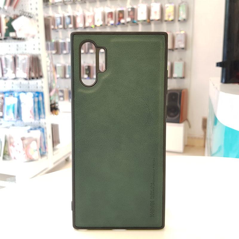 Ốp lưng Note 10 Plus bằng da chính hãng X-Level xanh rêu