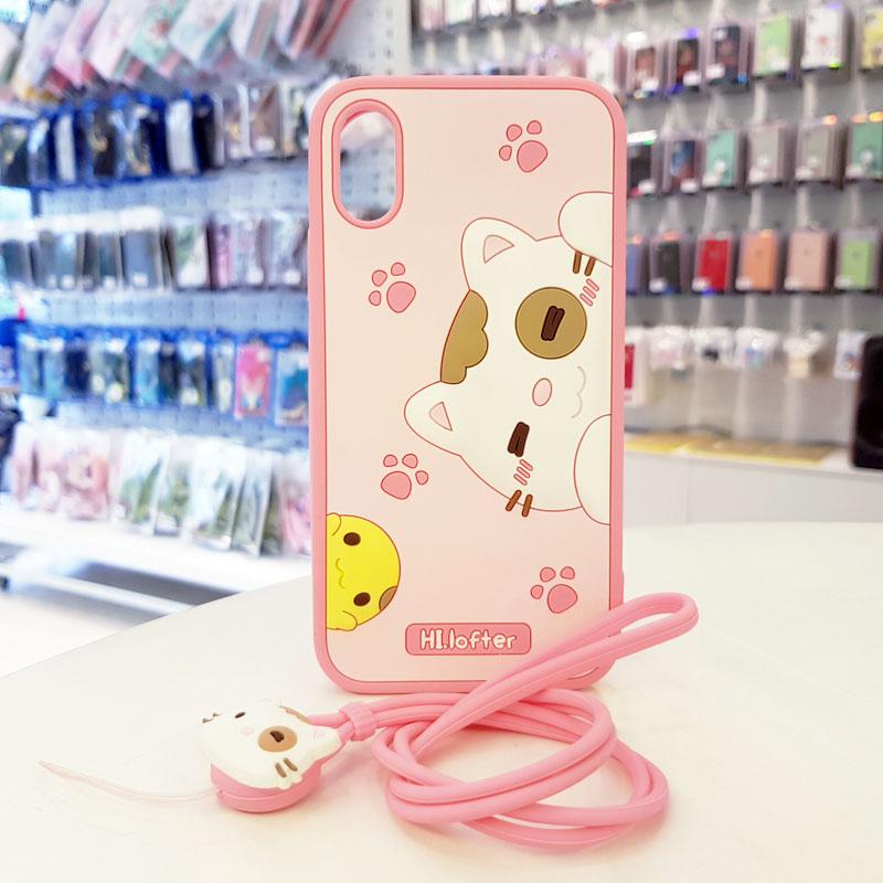 Ốp lưng iPhone Xs Max cute hình mèo thương hiệu Hi Lofter hồng