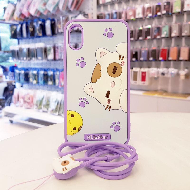 Ốp lưng iPhone Xs Max cute hình mèo thương hiệu Hi Lofter tím