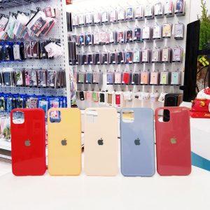 Ốp lưng điện thoại lưng kính logo táo màu