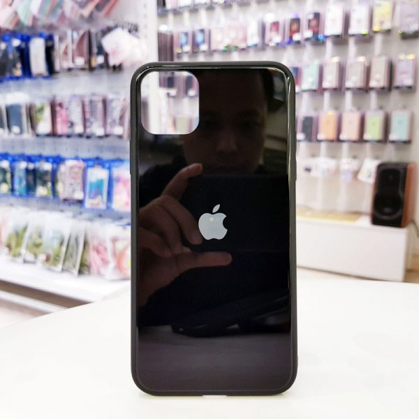 Ốp lưng điện thoại lưng kính logo táo đen