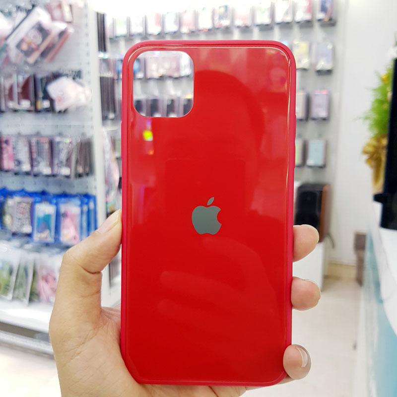 Ốp điện thoại iPhone X chống sốc lưng kính logo táo đỏ1