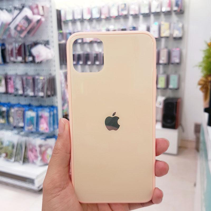 Ốp lưng điện thoại lưng kính logo táo hồng1