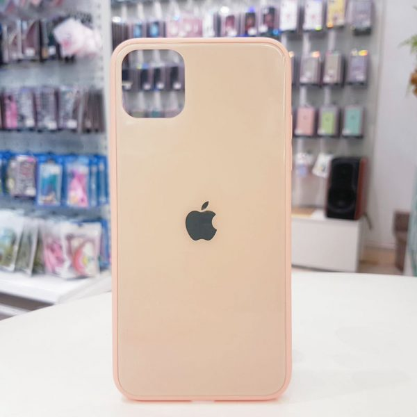 Ốp lưng điện thoại lưng kính logo táo hồng