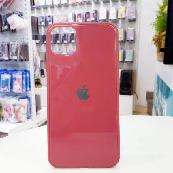 Ốp lưng điện thoại lưng kính logo táo hồng đậm