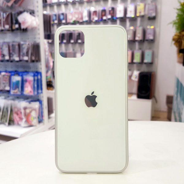 Ốp lưng điện thoại lưng kính logo táo trắng