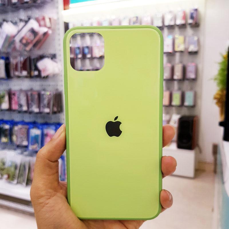 Ốp lưng điện thoại lưng kính logo táo xanh cốm