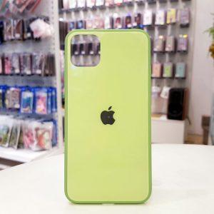 Ốp lưng điện thoại lưng kính logo táo xanh cốm1