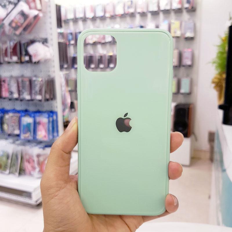 Ốp lưng điện thoại lưng kính logo táo xanh dương