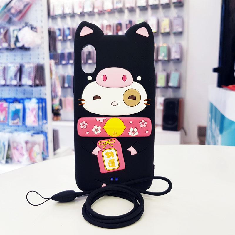 Ốp lưng iPhone X cute hình mèo thần tài Lofter đen