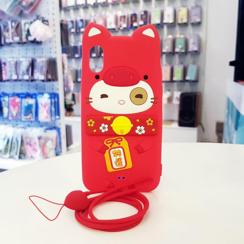 Ốp lưng iPhone X cute hình mèo thần tài Lofter Lofter đỏ