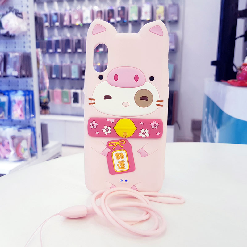 Ốp lưng iPhone X cute hình mèo thần tài Lofterr hồng