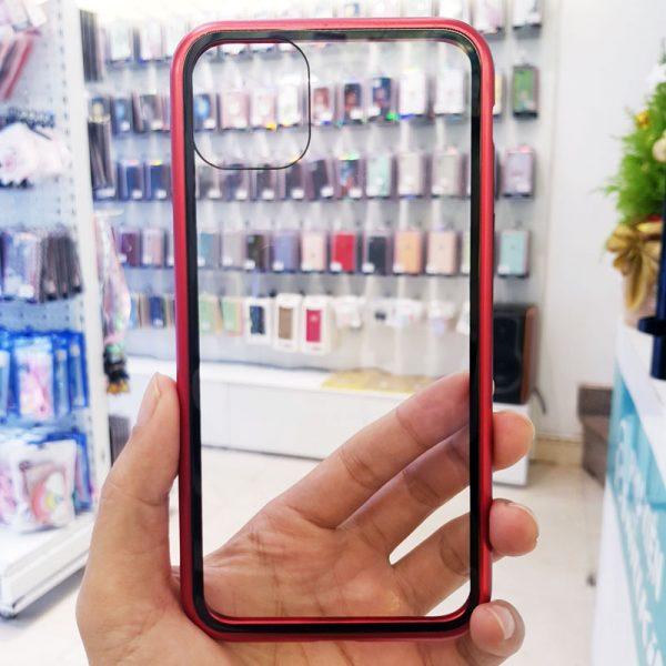 Ốp lưng điện thoại likgus nam châm lưng kính viền đỏ1