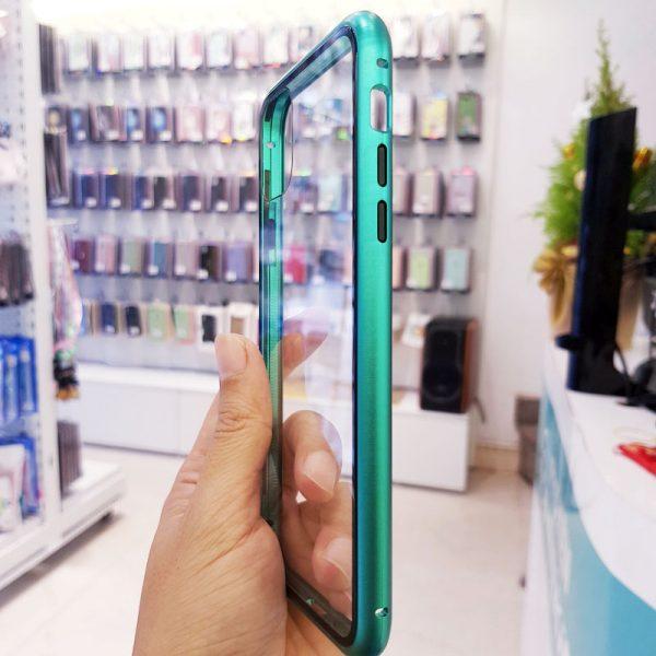 Ốp lưng điện thoại likgus nam châm lưng kính viền xanh ngọc bích3