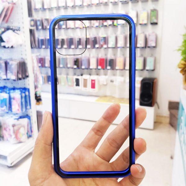 Ốp lưng điện thoại likgus nam châm lưng kính viền xanh than3