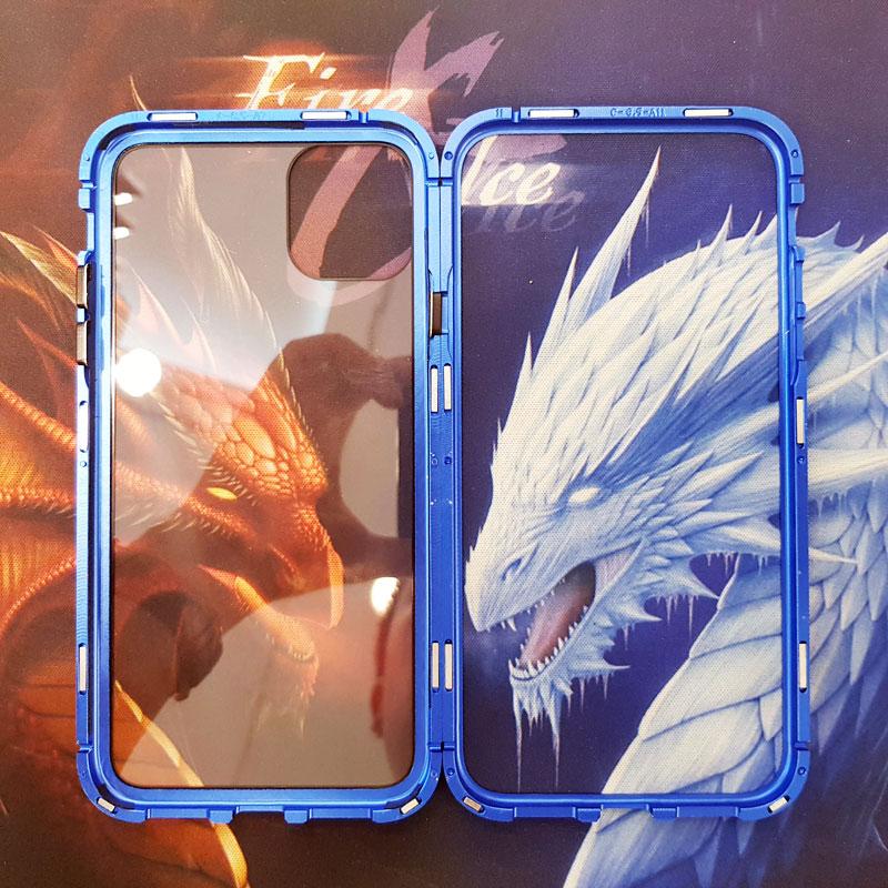 Ốp lưng điện thoại lưng kính viền xanh than2