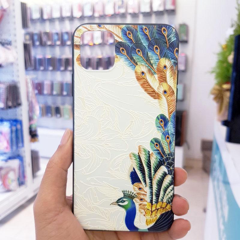 Ốp lưng iPhone Xs Max đẹp hình chim công trắng1