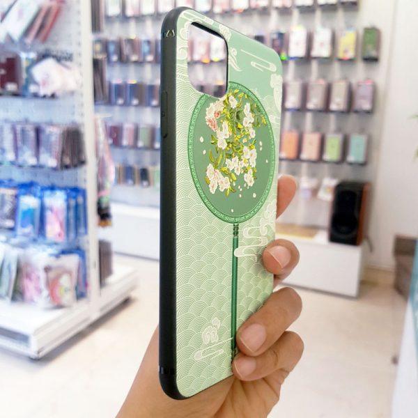 Ốp lưng điện thoại quạt xanh hoa trắng5