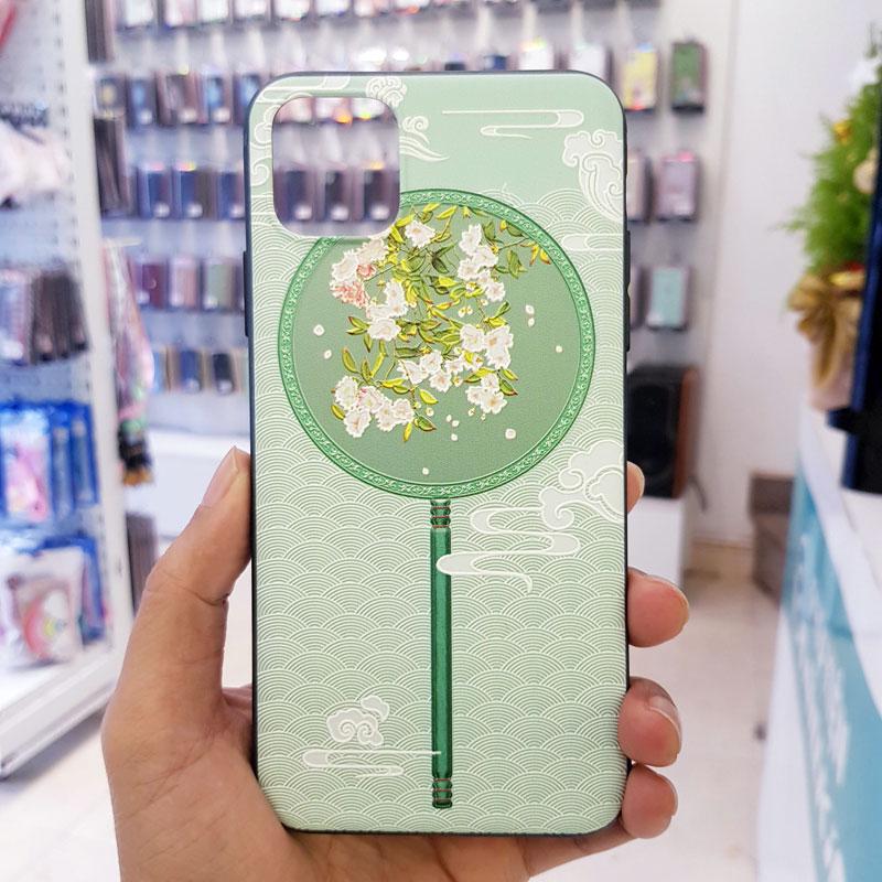 Ốp lưng iPhone Xr đẹp quạt xanh hoa trắng3