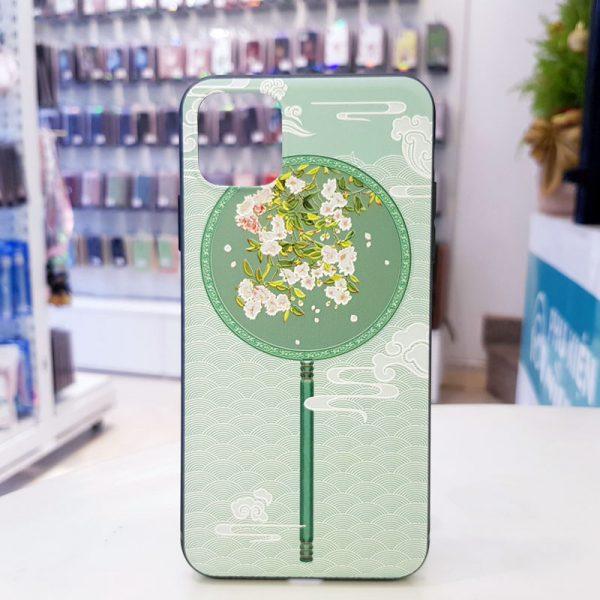 Ốp lưng điện thoại quạt xanh hoa trắng