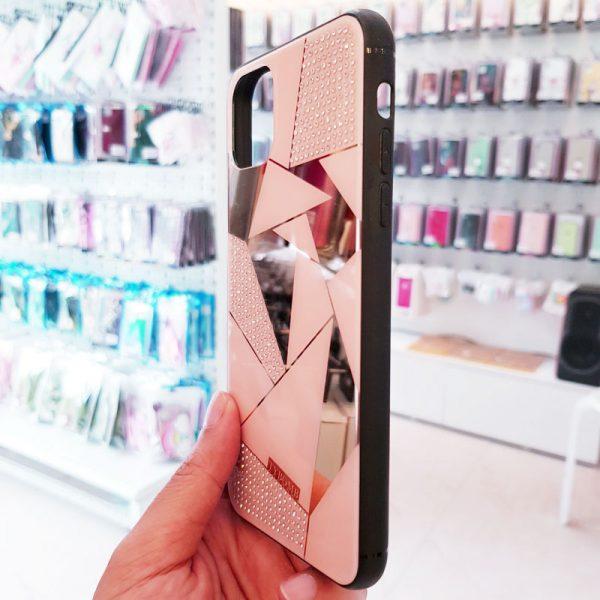 Ốp lưng điện thoại đính đá Tybomb gương hồng2
