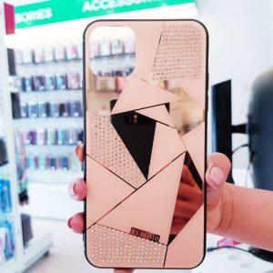 Ốp lưng điện thoại đính đá Tybomb gương hồng1